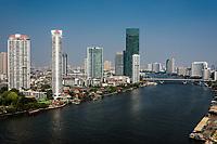 Chao Phraya river and Bangkok cityscape at Thailand