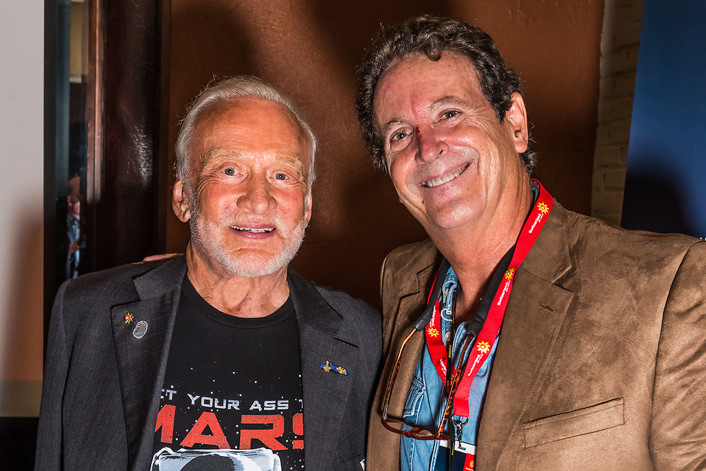 Dr. Buzz Aldrin, the second man to walk on the moon (during Apollo 11 space mission) speaks at the Switzerland Tourism Media Event in Denver, Colorado USA with photographer Blaine Harrington III.