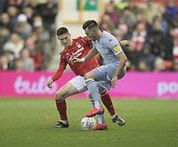 Leeds United's Jack Harrison in action with Nottingham Forest's Joe Lolley<br /> <br /> Photographer Mick Walker/CameraSport<br /> <br /> The EFL Sky Bet Championship - Nottingham Forest v Leeds United - Saturday 8th February 2020 - The City Ground - Nottingham <br /> <br /> World Copyright © 2020 CameraSport. All rights reserved. 43 Linden Ave. Countesthorpe. Leicester. England. LE8 5PG - Tel: +44 (0) 116 277 4147 - admin@camerasport.com - www.camerasport.com