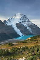 Mount Robson, highest mountain in the Canadian Rockies, elevation 3,954m (12,972ft), seen from Mumm Basin, Mount Robson Provincial Park British Columbia