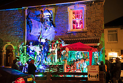 "© Licensed to London News Pictures; 30/10/2020; Bristol, UK. A Halloween display called ""House of Horrors"" by Mark Davenport from Fishponds in Bristol has a Halloween pirate ghost ship in his front garden. He describes it as a half-sized pirate ship, 18ft long in a 20ft long front garden. Mr Davenport does a Halloween display each year and said last year more than 1,500 people visited his house to see his display. Halloween displays are seen around Bristol during the covid-19 coronavirus pandemic. A list of displays has been collated and put on Facebook with a map for people to follow by Halloween fan Natasha Wood who has set up the Facebook group Halloween displays in Bristol when she realised trick or treating would be different this year due to the covid-19 coronavirus pandemic. The government has advised against trick or treating but stopped short of actually banning it. Any Halloween parties must abide by the ""rule of six"" in tier one areas such as Bristol. Photo credit: Simon Chapman/LNP."