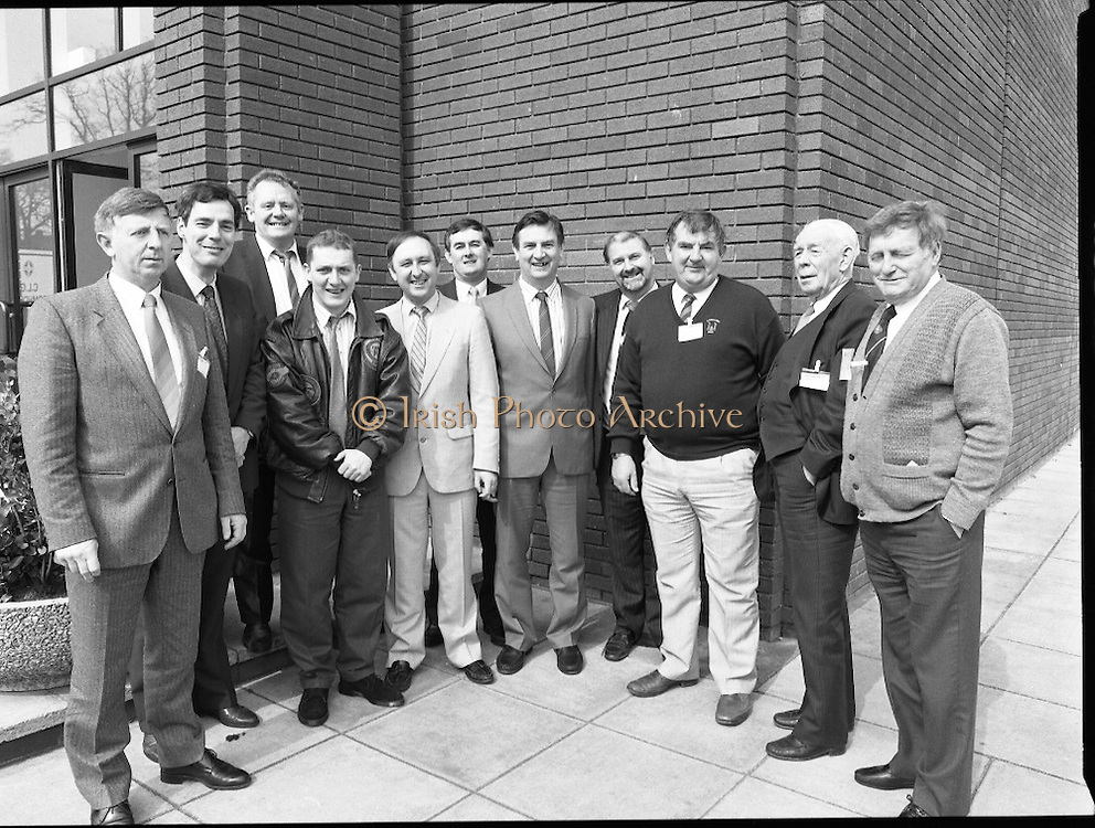 GAA Annual Congress At Malahide.   (R99)..1989..01.04.1989..04.01.1989..1st April 1989..The annual GAA Congress was held this week at the Grand Hotel, Malahide,Dublin. The congress sets out GAA policy for the coming year...The Cork Delegates in attendance at congress were: .Michael O'Loughlin, Seamus Conroy, Bob Honahan, Sean O'Leary, Frank Murphy, Christy Cooney, Brian Barrett, Brendan Larkin, Dan Hoare, Denis Cooney and Sean Crowley.