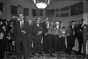 01/04/1963<br /> 04/01/1963<br /> 01 April 1963<br /> SPAR reception at the Shelbourne Hotel, Dublin. The reception announced the formation of SPAR (Ireland) Ltd. comprised of the Irish Wholesale Grocers Firms: Amalgamated Wholesalers Ltd., (P. Barrett and Sons Ltd., Dublin; D. Tyndall and Sons Ltd., Dublin and McNulty and O'Reilly Ltd., Bray); Munster United Merchants Ltd., (Maurice P. Daly Ltd., Cork and The Jamaica Banana Co. Cork) and Messrs Looney and Co. Ltd., Limerick.