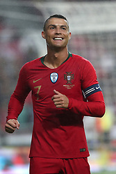 June 7, 2018 - Lisbon, Portugal - Portugal's forward Cristiano Ronaldo reacts during the FIFA World Cup Russia 2018 preparation football match Portugal vs Algeria, at the Luz stadium in Lisbon, Portugal, on June 7, 2018. (Portugal won 3-0) (Credit Image: © Pedro Fiuza/NurPhoto via ZUMA Press)