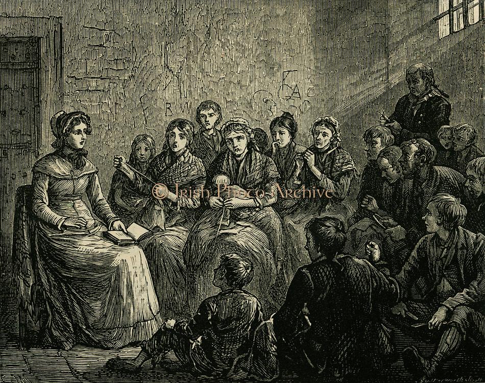Sarah Martin (1791-1843) English prison visitor reading to prisoners.