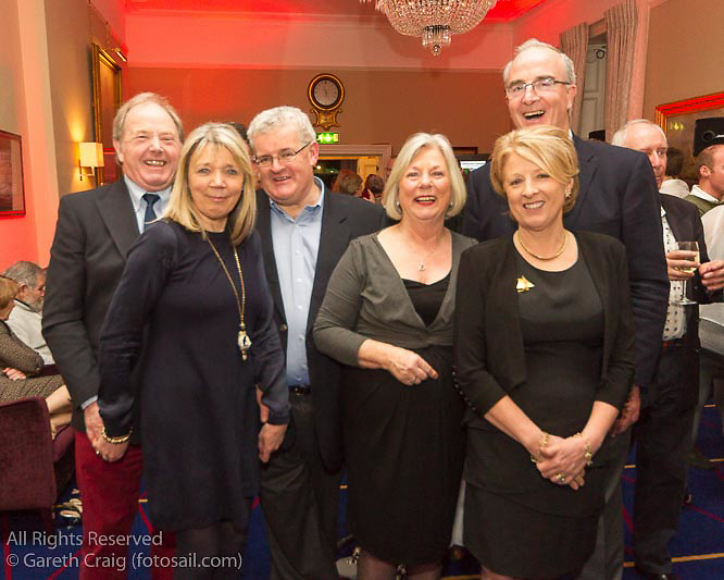 (l to r) Graham and Julie Chambers, Clayton and Ellen Love, and Anthony and Sally O'Leary at the reunion night to celebrate 50 years of the Irish Fireball Class, held at the Royal St George YC.