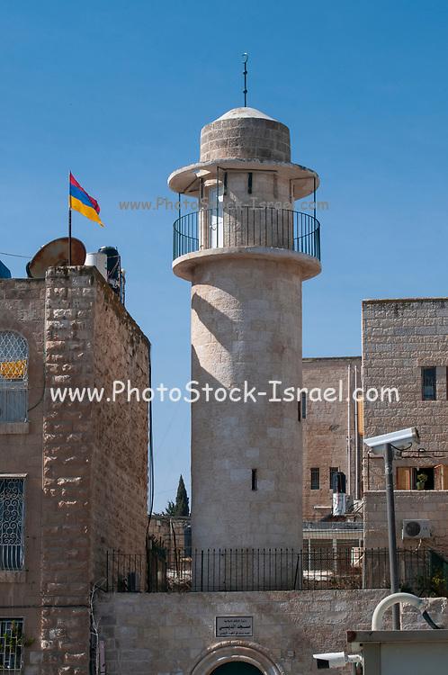 Minaret of the Sidna Omar Mosque, in the Jewish Quarter, Old City, Jerusalem, Israel