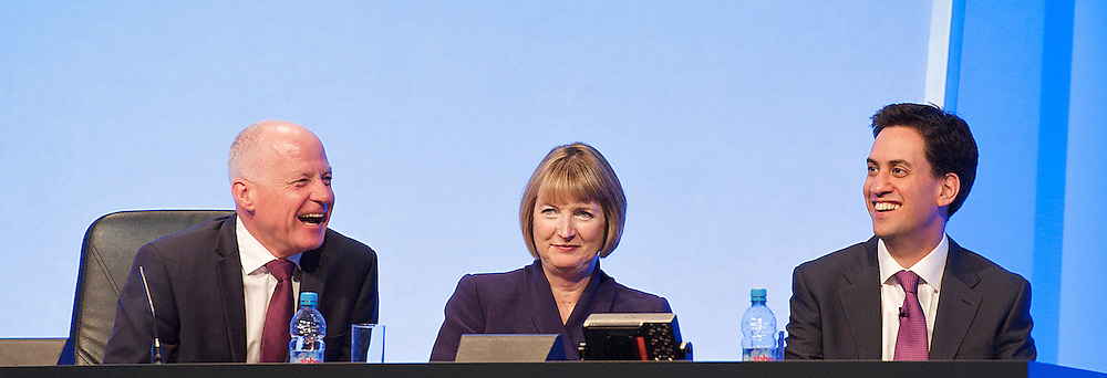 (L to R) Michael Cashman, Harriet Harman and Ed Miliband during the Labour Party Annual Conference in Manchester, Great Britain, September 30, 2012 Photo by Elliott Franks / i-Images.