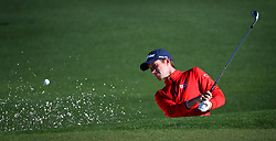 Webb Simpson hits from a sand trap along the 2nd green during the second round of the Masters Tournament at Augusta National Golf Club in Augusta, Ga., on Friday, April 7, 2017. (Photo by Jeff Siner/Charlotte Observer/TNS)  *** Please Use Credit from Credit Field ***