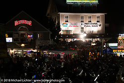 Nighttime on Lakeside Avenue in Weirs Beach during Laconia Motorcycle Week. NH, USA. Friday, June 15, 2018. Photography ©2018 Michael Lichter.