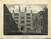 Architecture in the City of London Copperplate engraving of the Guildhall, London. From the Encyclopaedia Londinensis or, Universal dictionary of arts, sciences, and literature; Volume XIII;  Edited by Wilkes, John. Published in London in 1815
