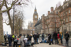 Westminster, London, March 23rd 2017. The press gathered on Victoria Embankment as investigations continue following Tuesday's terrorist attack on Westminster Bridge and in the grounds of Parliament, in which four people and their attacker were killed with over 40 injured.