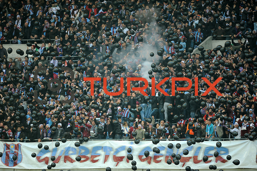 Trabzonspor's supporters during their Turkish soccer superleague match IBBSpor between Trabzonspor at the Ataturk Olympic stadium in Istanbul Turkey on Saturday 07 January 2012. Photo by TURKPIX