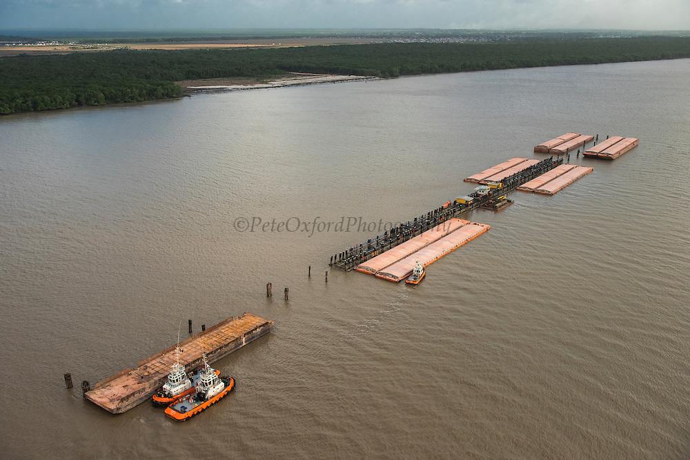 Bauxite barge<br /> Demerara River<br /> GUYANA<br /> South America<br /> Longest river in Guyana