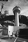 Y-610913-04.  Schoolgirls exit the Oregon City Elevator. September 13, 1961