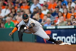 May 23, 2018 - Houston, TX, U.S. - HOUSTON, TX - MAY 23: San Francisco Giants designated hitter Pablo Sandoval (48) makes the catch for the out on Houston Astros second baseman Jose Altuve (27) in the fourth inning during MLB baseball game between the Houston Astros and the San Francisco Giants on May 23, 2018 at Minute Maid Park in Houston, Texas. (Photo by Juan DeLeon/Icon Sportswire) (Credit Image: © Juan Deleon/Icon SMI via ZUMA Press)