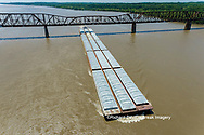 63807-01114 Barge on the Mississippi river crossing under the Thebes bridge Thebes, IL