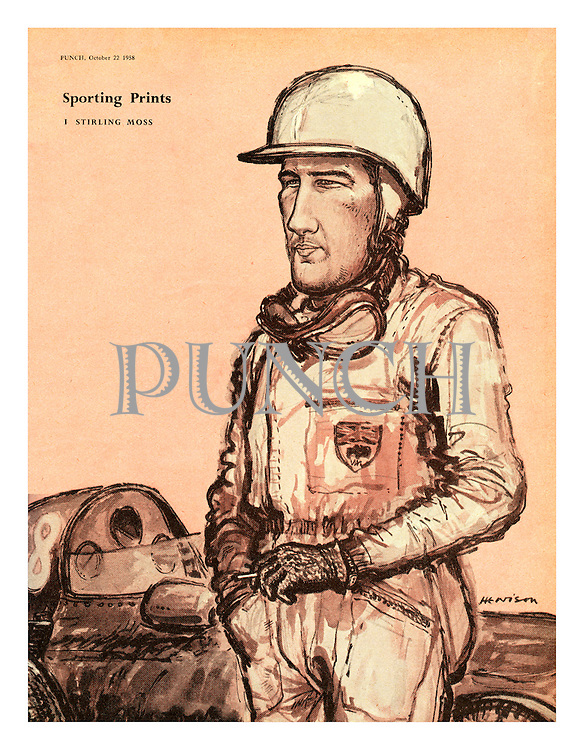 Sporting Prints. 1. Stirling Moss (a 1950s cartoon portrait from Punch magazine showing Sterling Moss standing beside his racing car)