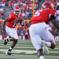 Sep 19, 2009; Piscataway, NJ, USA; Rutgers quarterback Jabu Lovelace (15) scrambles during the first half of NCAA college football between Rutgers and Florida International at Rutgers Stadium.