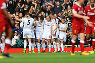Scott Arfield of Burnley (c) celebrates with his teammates after scoring his teams 1st goal. Premier League match, Liverpool v Burnley at the Anfield stadium in Liverpool, Merseyside on Saturday 16th September 2017.<br /> pic by Chris Stading, Andrew Orchard sports photography.