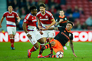 Middlesbrough forward Adama Traore (37) is first to the ball ahead of Sheffield Wednesday defender Liam Palmer (16)  during the The FA Cup match between Middlesbrough and Sheffield Wednesday at the Riverside Stadium, Middlesbrough, England on 8 January 2017. Photo by Simon Davies.