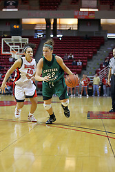 06 December 2008: Cassie Schrock brings the ball past the 3 point arc with Ashleen Bracey keeping her outside during a game between the Eastern Michigan Eagles and the Illinois State Redbirds on Doug Collins Court inside Redbird Arena on the campus of Illinois State University, Normal Il.