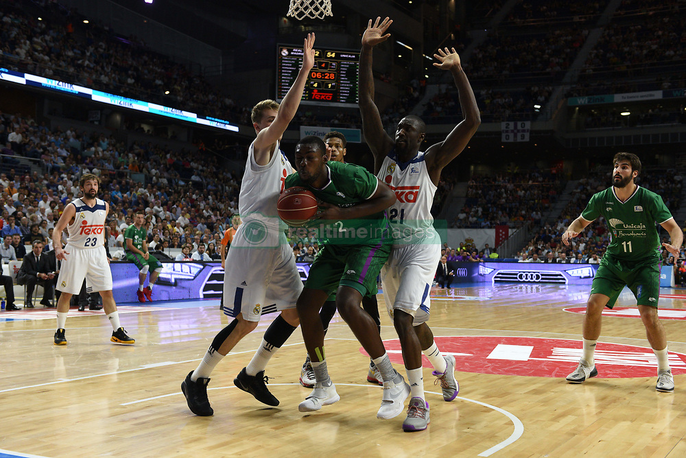 May 31, 2017 - Madrid, Madrid, Spain - Viny Okou (C), #2 of Unicaja de Málaga in action during the first game of the semifinals of basketball Endesa league between Real Madrid and Unicaja de Málaga. (Credit Image: © Jorge Sanz/Pacific Press via ZUMA Wire)