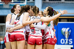 Players of Nova KBM Maribor celebrate during 3rd Leg Volleyball match between Calcit Volley and Nova KBM Maribor in Final of 1. DOL League 2020/21, on April 17, 2021 in Sportna dvorana, Kamnik, Slovenia. Photo by Matic Klansek Velej / Sportida