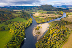Autumn view of confluence of River Tay and River Tummel at Ballinluig. River Tay (top) and River Tummel are two of Scotland's foremost salmon rivers. Scotland, UK