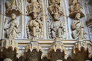 """North Porch, Central Portal, Right Archivolts c. 1194-1230. Cathedral of Chartres, France. The Jesse Tree shows the genealogy of Christ, based on the words of Isaiah's prophecy (Isaiah 11:1 """" And there shall come forth a rod out of the root of Jesse, and a flower shall rise up out of his root."""") The Innermost archivolt contains angels. The second and fifth archivolts from the centre contains Old Testament prophets, many nimbed and holding scrolls. The third and fourth archivolts contain seated figures of the royal ancestors of Christ, surrounded by foliage of the Jesse Tree. A UNESCO World Heritage Site. . .<br /> <br /> Visit our MEDIEVAL ART PHOTO COLLECTIONS for more   photos  to download or buy as prints https://funkystock.photoshelter.com/gallery-collection/Medieval-Middle-Ages-Art-Artefacts-Antiquities-Pictures-Images-of/C0000YpKXiAHnG2k"""