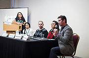 Alberto Maldonado, right, speaks during the Cap Times Idea Fest 2018 at the Pyle Center in Madison, Wisconsin, Saturday, Sept. 29, 2018.