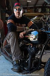 Billy Lane on his 1931 Harley-Davidson Model VL 74 c.i. bike at his shop, Ormond Beach, FL. Monday, March 16, 2015.  Photography ©2015 Michael Lichter.