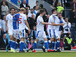 Blackburn Rovers' Joe Rothwell (right) celebrates scoring the first goal of the game during the Sky Bet Championship match at Ewood Park, Blackburn. Picture date: Saturday October 16, 2021.