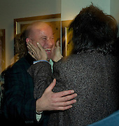 PAUL KARSLAKE AND RONNIE WOOD, Ideas And Idols - private view of work by Paul Karslake.<br />Scream, 34 Bruton Street, London, W1, 6.30-8.30pm<br />21 February 2008.  *** Local Caption *** -DO NOT ARCHIVE-© Copyright Photograph by Dafydd Jones. 248 Clapham Rd. London SW9 0PZ. Tel 0207 820 0771. www.dafjones.com.