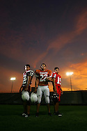 Mission High School #12 Nathan Salazar, quarterback, Mercedes High School #12 Alex Trevino, running back, La Villa High School #15 J.D. Cisneros, quarterback.  Photographed at Tiger Stadium for the cover of the 2007 Football Tab.