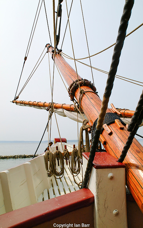 View of Foremast and riggings of a historical  Sailing Ship.