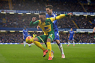 Nathan Redmond of Norwich City blocking the ball from Cesc Fabregas of Chelsea. Barclays Premier league match, Chelsea v Norwich city at Stamford Bridge in London on Saturday 21st November 2015.<br /> pic by John Patrick Fletcher, Andrew Orchard sports photography.