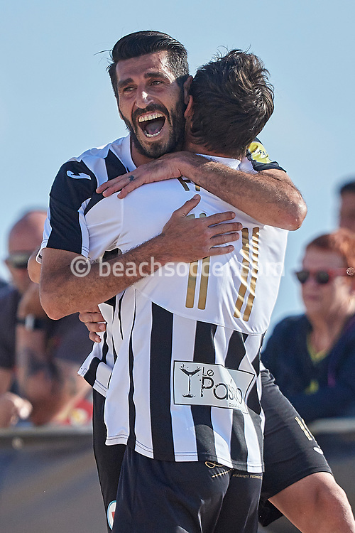 NAZARE, PORTUGAL - JUNE 5: Sabri Dhaouadi of Grande-Motte PBS and Anthony Fayos of Grande-Motte PBS during the Euro Winners Cup Nazaré 2019 at Nazaré Beach on June 5, 2019 in Nazaré, Portugal. (Photo by Jose M. Alvarez)