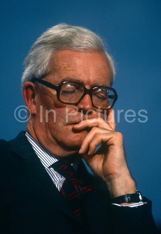 Foreign Secretary and Conservative MP, Douglas Hurd MP at the Conservative party conference on 11th October 1991 in Blackpool, England. Douglas Richard Hurd, Baron Hurd of Westwell, CH, CBE, PC b1930 is a British Conservative politician who served in the governments of Margaret Thatcher and John Major from 1979 to 1995.