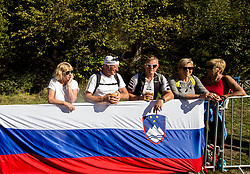Supporters of Slovenia during the Men Elite Road Race at 258.5km Race from Kufstein to Innsbruck 582m at the 91st UCI Road World Championships 2018 / RR / RWC / on September 30, 2018 in Innsbruck, Austria. Photo by Vid Ponikvar / Sportida