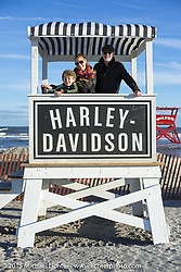 Jon Patrick of the Selvedge Yard with his family at the Race of Gentlemen. Wildwood, NJ, USA. October 10, 2015.  Photography ©2015 Michael Lichter.