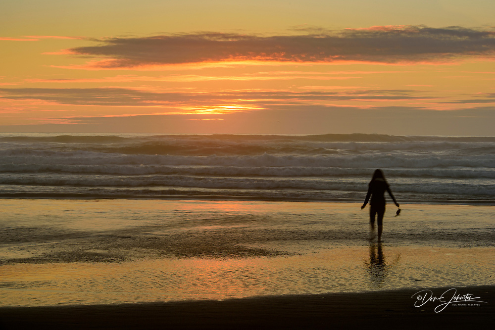 Hug Point beach near sunset, Hug Point State Scenic Area, Oregon, USA