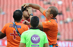 10/03/2018 Andries Ferreira gets strapping support around his head during the game. Gauteng Lions vs the Auckland Blues at Emirates Airlines Stadium, Ellis Park, Johannesburg, South Africa. Picture: Karen Sandison/African News Agency (ANA)