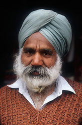 Portrait of elderly man in the Punjab; India,