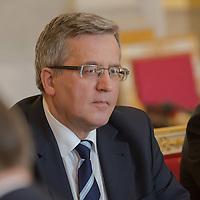 Bronislaw Komorowski president of Poland talks during a meeting in Budapest, Hungary on March 21, 2014. ATTILA VOLGYI