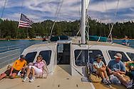 Tourist Catamaran cruising on the lake near Zephyr Cove Beach, Lake Tahoe, Nevada