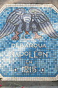 Lue mosaic commemorating spot where Napoleon landed on his return from Elba on 1 March 1815, Golfe-Juan, France.