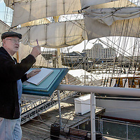 Maritime artist Anthony Blackman of London sketches the Elissa at the Texas Seaport Museum off Harborside Dr.  Blackman will be in Galveston about a month as a artist in residence while his exhibit runs now till Feb. 26 at the Museum.