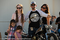 Kyle Shorey with his wife Deidre, kids and his custom Shovelhead at the Handbuilt Show. Austin, TX. USA. Sunday April 22, 2018. Photography ©2018 Michael Lichter.