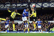 Arouna Kone of Everton heads toward goal but sees his effort saved. The Emirates FA cup, 3rd round match, Everton v Dagenham & Redbridge at Goodison Park in Liverpool on Saturday 9th January 2016.<br /> pic by Chris Stading, Andrew Orchard sports photography.